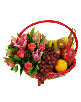 Fruits Basket - Roses, Lilies, Grapes, bananes Etc.