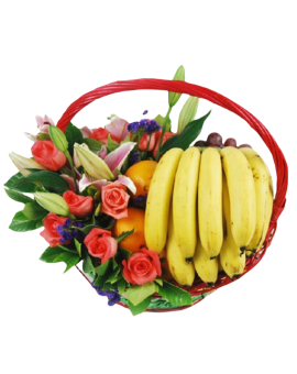 Fruits Basket - Roses, Lilies, Bananas, Oranges etc.