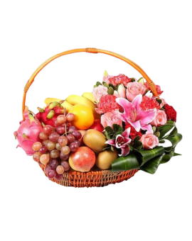 Fruits Basket - Roses, Lilies, Grapes, Kiwis etc.