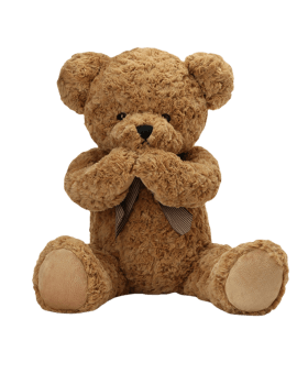 Shy Teddy Bear Toy - Light Brown