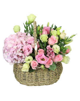 Mixed Flowers Basket of Pink Roses, Pink hydrangea etc