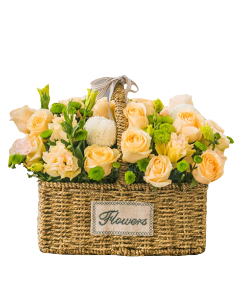 Mixed Flowers Basket of Champagne