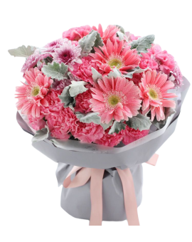 Mixed Flowers Bouquet of Pink Carnations, Gerbera etc