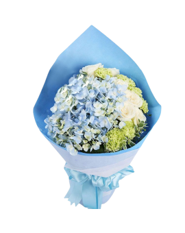 Mixed Flowers Bouquet of White Roses, Hydrangea etc