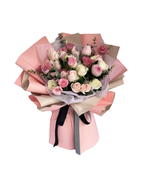 Mixed Flowers Bouquet of White and Pink