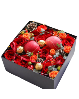 Christmas Flowers Gift Box - Merry Christmas Xmas
