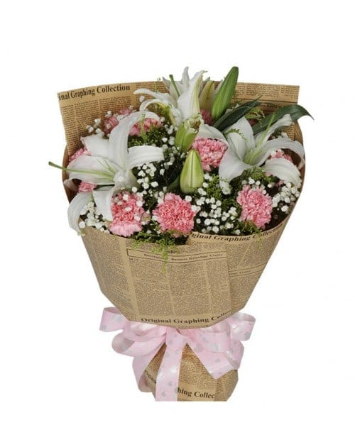 11 Pink Carnations with 6 Lilies