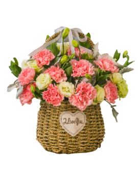 19 Pink Carnations in Basket