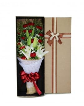 19 Red Carnations with 6 Lilies in Luxury Box