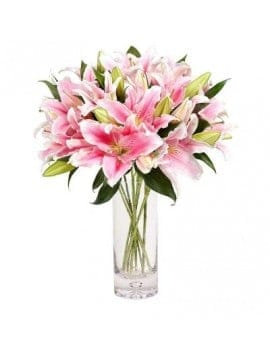 18 Pink Lilies in Glass Vase