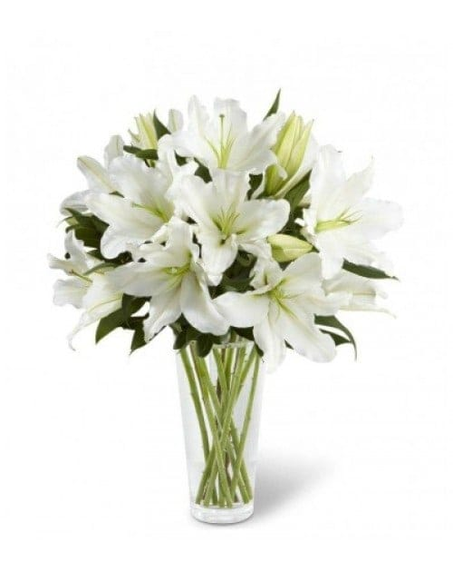 18 White Lilies in Glass Vase