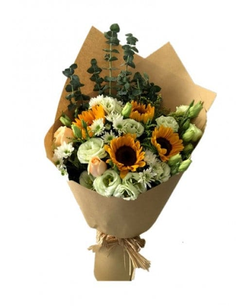 4 Sunflowers with champagne roses