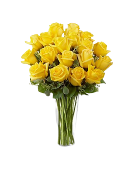 21 Yellow Roses in Vase