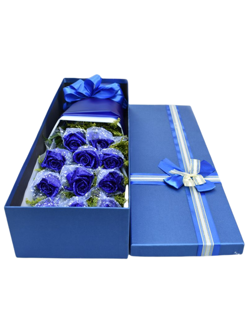 11 Blue Roses in Luxury Box