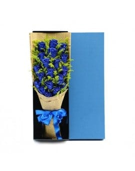 21 Blue Roses in Luxury Box