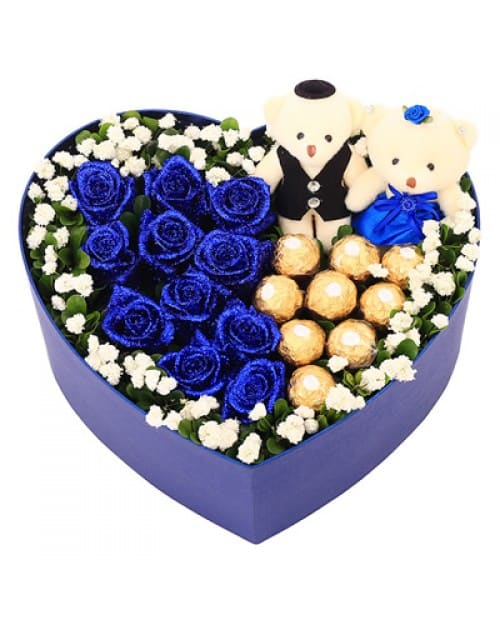 9 Blue Roses with 9 Ferrero Rocher