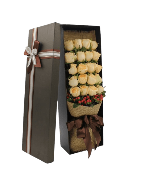 21 Champagne Roses in Luxury Box