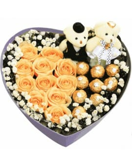 9 Champagne Roses with 9 Ferrero Rocher