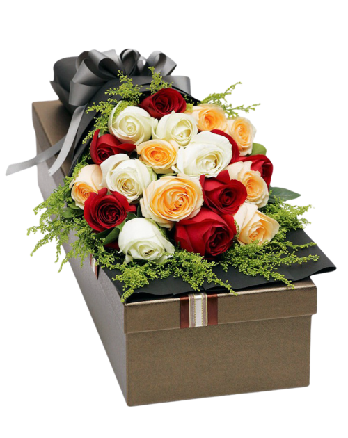21 Mixed Roses in Luxury Box