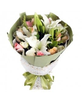 21 Mixed Roses with 6 lilies