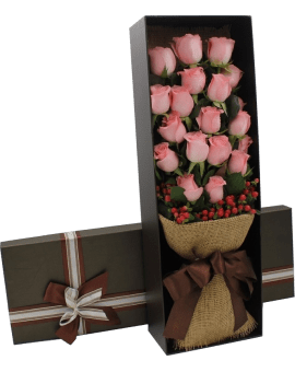 21 Pink Roses in Luxuy Box