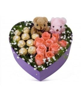 Pink Roses with Ferrero Rocher Chocolates