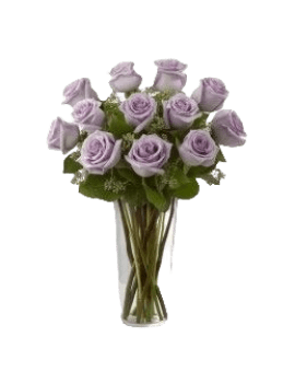 11 Purple Roses in Vase