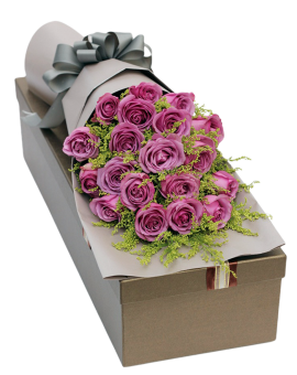 19 Purple Roses in Luxury Box