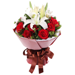 11 Red Roses with 4 lilies