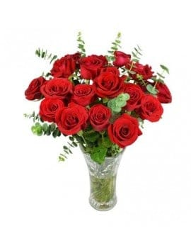 19 Red Roses in Glass Vase