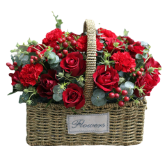 Mixed Flowers Basket of Red Roses, Red Carnations