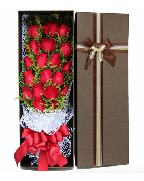 19 Red Roses in Luxury Box