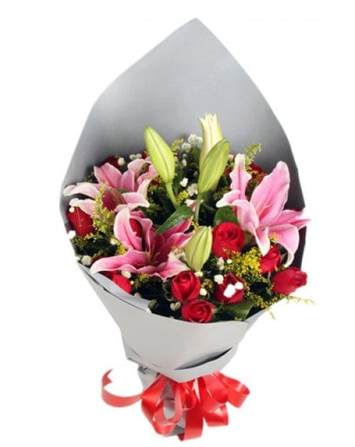 19 Red Roses with 6 lilies