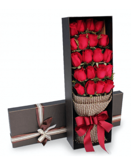 21 Red Roses in Luxury Box