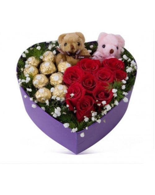Red Roses with Ferrero Rocher Chocolates