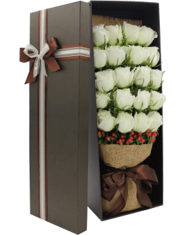 21 White Roses in Luxury Box
